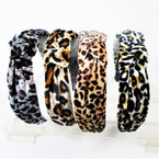 "1.5"" Leopard Print  Pattern Velvet Fashion Headbands w/ Knot .56 each"