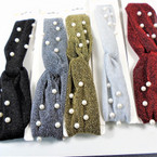 "HI Fashion 2"" Wide Sparkle Fabric Stretch Headbands w/ Pearls .56 each"