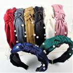 """1.5"""" Shiney Fabric w/ Pearls  Fashion Headbands w/ Knot .56 each"""