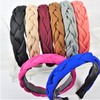 Trendy Textured Fabric  Braid Style  Fashion Headbands 8- Colors   .56 each