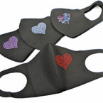 Heart Theme Stone Face Masks Washable & Reusable 12 per pk  .65 each