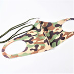 Spandex Face Masks Washable & Reusable CAMO Print   w/ Cord Holder  .75 each
