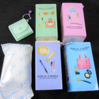 "Square Plastic Can 3.5"" Glamour Theme Keychain  w/ Wet Wipes .70 each"