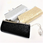 "4"" X 8"" Sequin Evening Bag w/ Lg Silver Chain Strap sold by 12 per pk 3 colors"