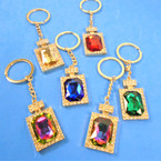 Gem Stone & Crystal Stone Perfume Bottle Metal Keychains 12 per pk   .62 each