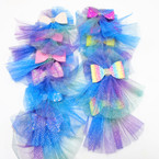 "6"" Multi Color Sparkle Lace Gator Clip Bows w  Mini Sequin Glitter Bow  .54 each"