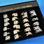 Gold/Silver Square & Round. Cubic Zirconia Prong Set Rings 24 per bx   .40 each