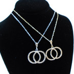 """20"""" Gold & Silver Chain Necklace Sets w/ Cry. Stone DBL Circle  Pend. .60 ea set"""