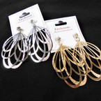 """2.5"""" New Style Gold & Silver Two Tone Fashion Earrings w/ Stone Top .54 per pair"""