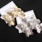 "1.75"" New Style Gold & Silver Two Tier Butterfly Earrings  .54 per pair"
