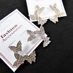 "1.5"" New Style Gold & Silver Floating Butterfly Earrings w/ Cry. Stones  .58 per pair"