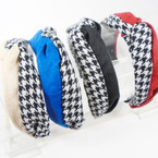 NEW Two Tone Houndstooth Pattern Fashion Headbands   .58 ea