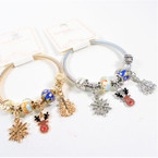 Gold & Silver Spring Style Beaded Bracelet w/ Reindeer Christmas Theme .58  each
