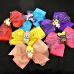 """6"""" Kids Theme Gator CLip Bows w/ Sparkle Lace 12 colors"""