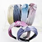 "1.5"" Gradiant Color Sparkle Fabric Fashion Headbands w/ Knot    .56 ea"