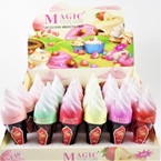 "3.5"" Mixed Color Scented Lip Gloss Ice Cream Cone Theme  24 pcs per display bx .60 ea"