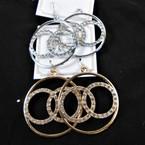 "1.5"" Gold & Silver DBL Cry. Stone Circle Fashion Earrings  .56 per pair"