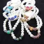 BEST BUY 2 Pk Glass Pearl Bracelets w/ Crystal Stones & Beads .62 per set