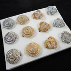 2 Style Gold & Silver Crystal Stone Fashion Rings .54 each