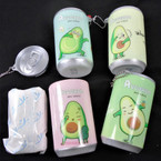 "3.25"" Tall Soda Can AVOCADO Theme Keychain  w/ Wet Wipe .65 each"