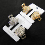 """2 Pk 1"""" Metal Gold/Silver Jaw CLips w/ Crystals .56 per set"""