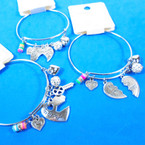 Silver Wire Bangle Bracelet Best Friend Theme  .56 each
