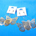 """3.5"""" Gold & Silver Chain Butterfly Earrings  .54 per pair"""