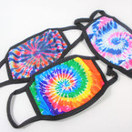 1960's Tye Dye Print Soft Fabric  Reusable Protective Face Mask  12 per pk $ .65 each