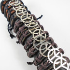 Teen Leather Bracelet w/Big  Silver Peace Sign .54 ea