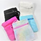 "5.5"" X 7"" Faux Fur Zipper Side Bag w/ Lg. Cord  asst colors .60 ea"