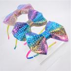 """Rainbow Headband w/ 3.5"""" Stone Look Rainbow Bow  .56 ea"""