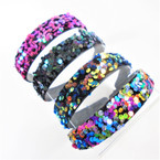 "1"" Wide New Pattern Sequin Fashion Headbands  .56 each"