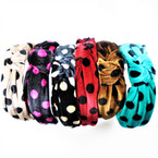 "1.5"" Wide Velvet  Poka Dot Print Fashion Headbands w/ Knot  .56 each"