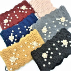 """Upgraded Quality 4"""" Wide Stretch Knit Winter Headbands w/ Pearls (1105)   $ 2.50  ea"""