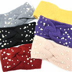 """Upgraded Quality 4"""" Wide Stretch Knit Winter Headbands w/ Pearls (1107)   $ 2.50  ea"""
