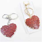 Gold & Silver Heart  RED Crystal Stone Keychain w/ Clip SPECIAL .58 each