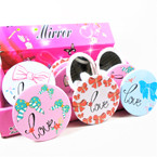 LOVE & Bow Theme Round DBL Compact Mirror in Display .60  each