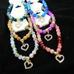 Mbl & Crystal Beaded Stretch Bracelet w/ Cry. Heart Charm  .58 each
