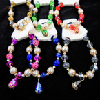 Pearl,Crystal & Fireball Bead Stretch Bracelet w/ Cry. Charm  .58 each