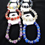Crystal & Fireball Bead Fashion Stretch Bracelet  .58 each