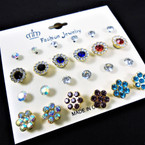 VALUE PACK 12 Pair Cry. Stone Stud Earrings .54 per set