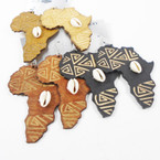 "2.75"" Wood Earrings Africa Map w/ Cowrie Shell   3 colors .54 per pair"