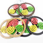 "3"" Wood Earrings Round w/ Rasta Swirls  3 colors .54 per pair"