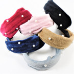 "1.5"" Wide Soft Velvet Feel Fashion Headbands w/ Knot & Pearls   .56 each"