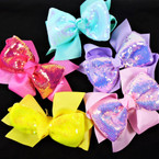 "5.5"" 2 Layer Super Shiney Sequin Gator Clip Bows .54 each"