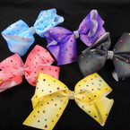 "5.5""  Gator Clip Bows w/  Acrylic Stones & Cry. Stone Center  .54 each"