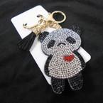 "3"" Crystal Stone Panda Bear Bling Keychains w/ Tassel & Clip 12 per pk .62 ea"