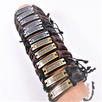 Teen Leather Bracelets w/ Gold/Sil Hope Plaque .54 each