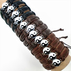 Teen Leather Bracelets w/ Ying Yang 3 color Leather   .54 each