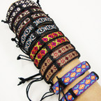 Tapestry Print Teen Leather Bracelet .54 ea